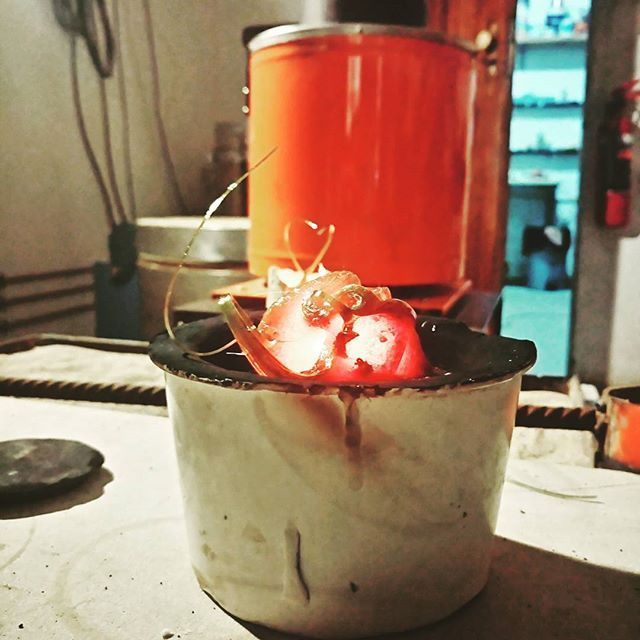 Molten glass cooling down.. After hours dev