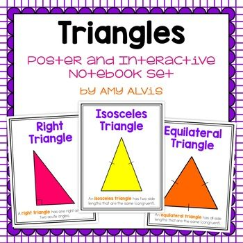 This poster and interactive notebook (INB) set covers right triangles, obtuse triangles, acute triangles, scalene triangles, isosceles triangles, equilateral triangles and area of a triangle. You will receive 2 foldable interactive graphic organizers and 9 triangle posters (8.5 X 11).