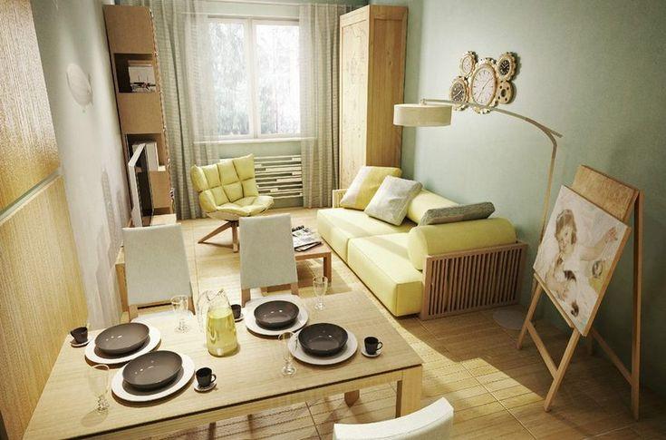Egy szép példa 26.5m2-es pici lakás berendezésére - lágy színek, otthonos hangulat