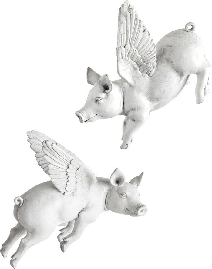Features:  -Resin flying pigs that hang on the wall with adjustable metal mounts.  -Set includes 2 pieces.  Product Type: -Sculpture.  Style: -Contemporary.  Theme: -Animal.  Finish: -White.  Primary