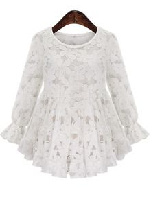 White Round Neck Pleated Lace Blouse