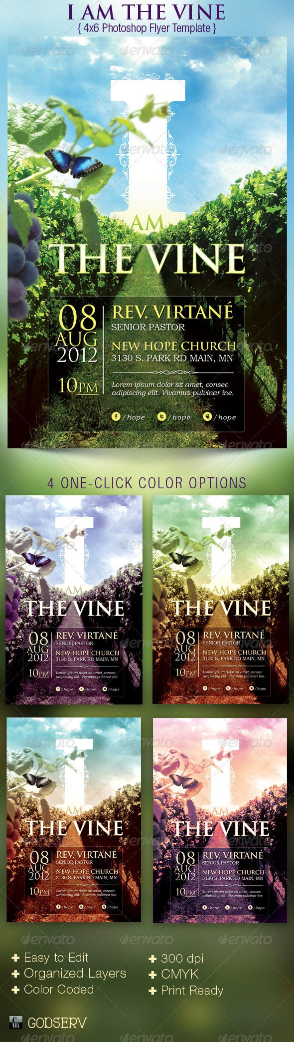 The I Am The Vine Church Flyer Template is geared towards usage for Church Sermon Series and Bible Studies etc. Can be used for general sunday worship, bible studies etc. - $6.00