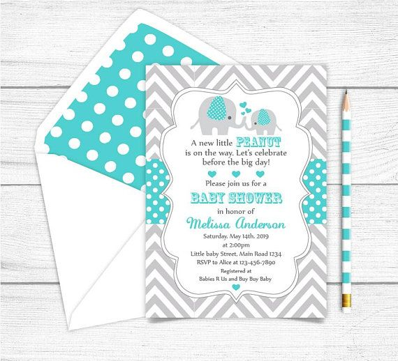 Printable Teal Gray Elephant Baby Shower Invitation, Elephant Printable Party Invitation,Grey Teal Elephant Baby Shower Invitation