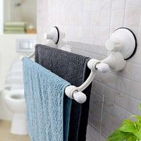 Photo Gallery For Website Fashion Suction Cup Wall Mounted Towel Rack Double Towel Rail Holder Storage Racks Shelf Bathroom Accessories Home Decor