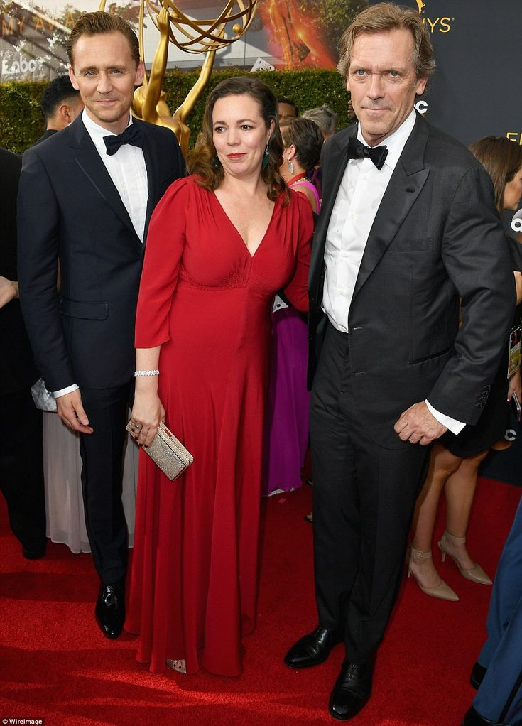 Co-stars: The Night Manager's (L-R) Tom Hiddleston, Olivia Colman and Hugh Laurie attended the event together