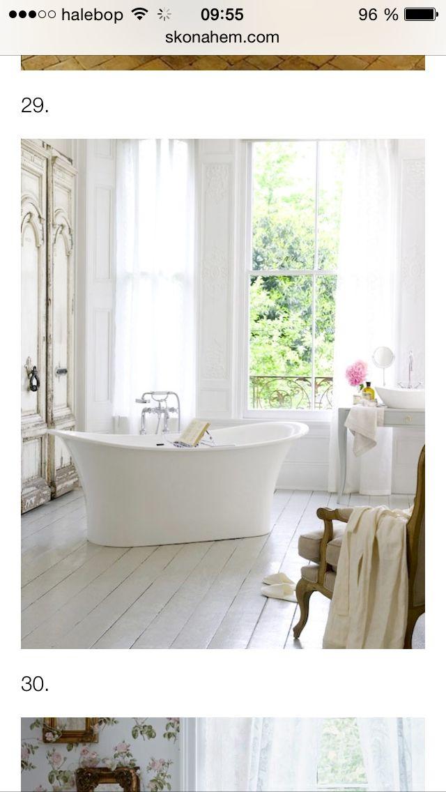 Trägolv i badrum