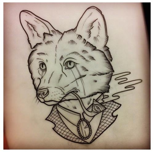 Traditional Fox Head Tattoo
