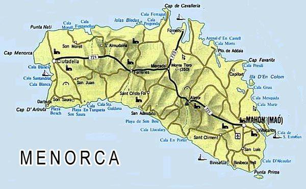 Mapa Menorca, Mapa de Menorca, Menorca Mapa, Mapa Carreteras Menorca