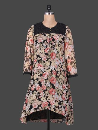 Buy Goodwill Multicoloured floral print georgette asymmetrical kurta Online, , LimeRoad