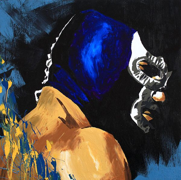 Acrylic and oil on 24″ x 24″ wood l  Blue Demon, Jr is the first masked Mexican wrestler to win the NWA World Heavyweight Championship. The win was also the first time the title changed hands in Mexico.