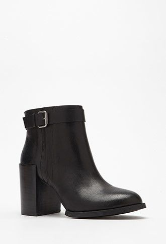 jewelry fashion Stacked Heel Buckled Booties   Forever 21    stepitup