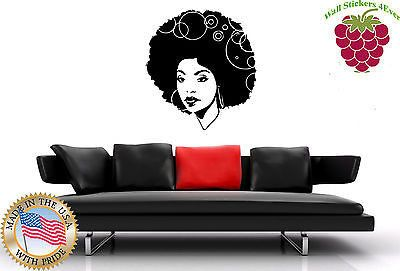Wall Stickers Vinyl Decal Black Sexy Hot Gorgeous  African  Afro Hair em449 .