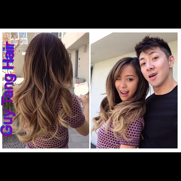 Behind the scenes of pjotoshoot with Michelle Phan @michellefawn ! Her hair looks great after 3 weeks ! Big messy curls #ombre #balayage #guytang #guy_tang #guytanghair #michellephan #sexyhair #sexyasian #sexyback #