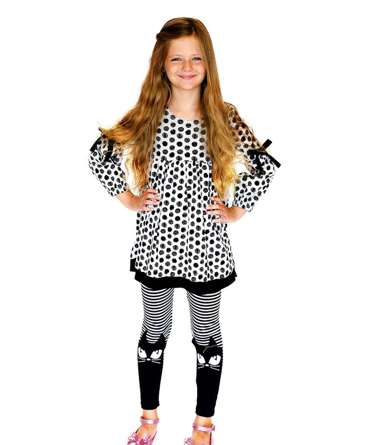 Look at this #zulilyfind! Black & White Weekend Floral Dress & Leggings - Toddler & Girls by Jelly the Pug #zulilyfinds
