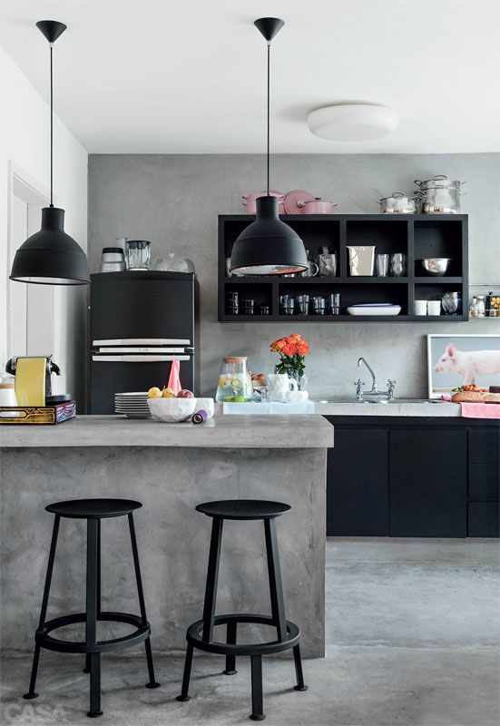 Black and grey color scheme with black appliances and concrete counter #home #decor