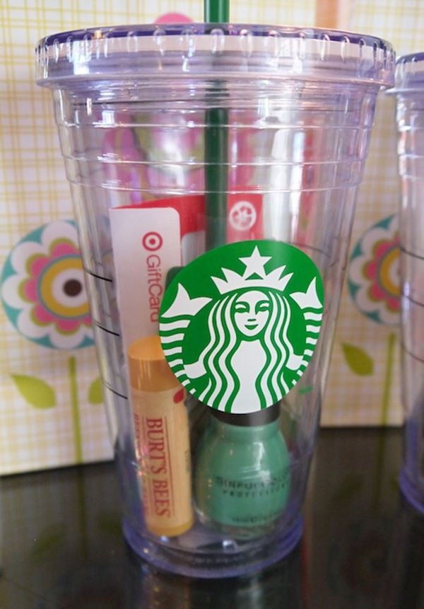 goodies in Starbuck cups for creative bridesmaid gift