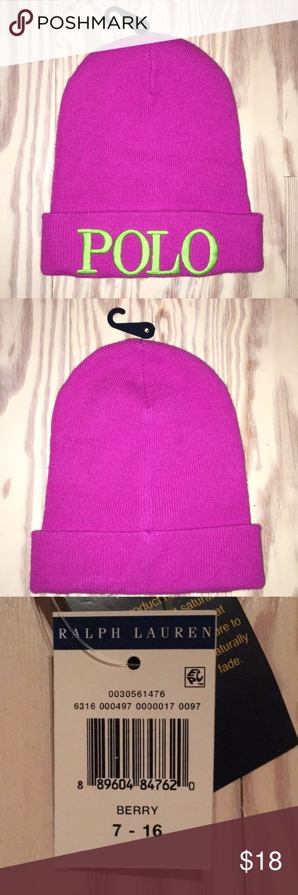Polo Beanie Neon Berry Polo Beanie with Lime Green Embroidery. Girls (Kids) size 7-16.  Will also fit women!  Brand new with tags.  Made of Viscose, Nylon, Cotton, Wool, Cashmere. Polo by Ralph Lauren Accessories Hats