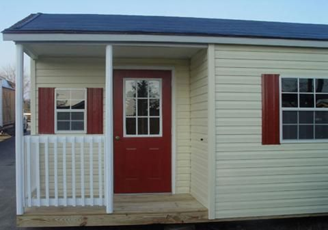 B Hmp2 1220 525 12x20 Vinyl Sided Ranch With Front Porch Shed Leonard Buildings Vinyl Storage Sheds