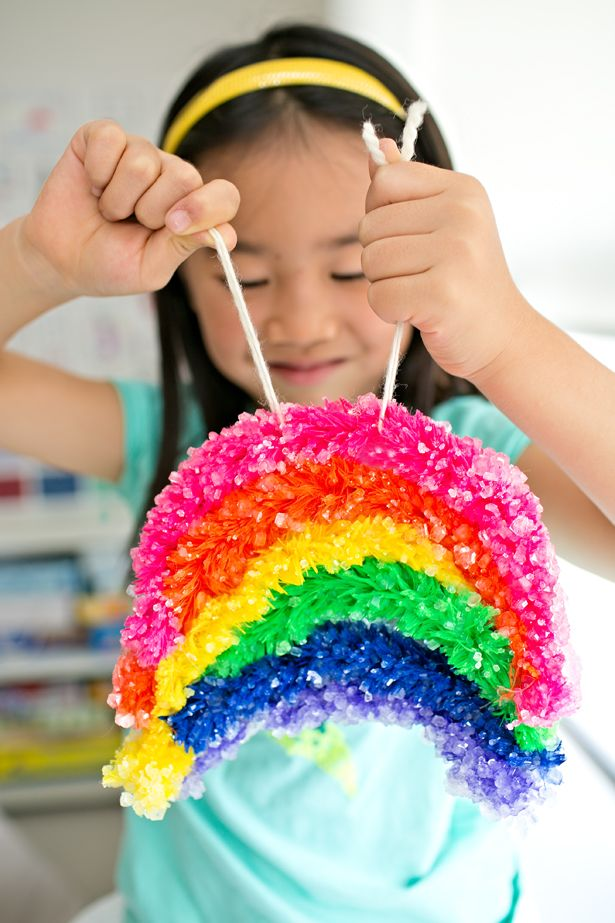 Make a GIANT crystal rainbow. Simple and so much fun!