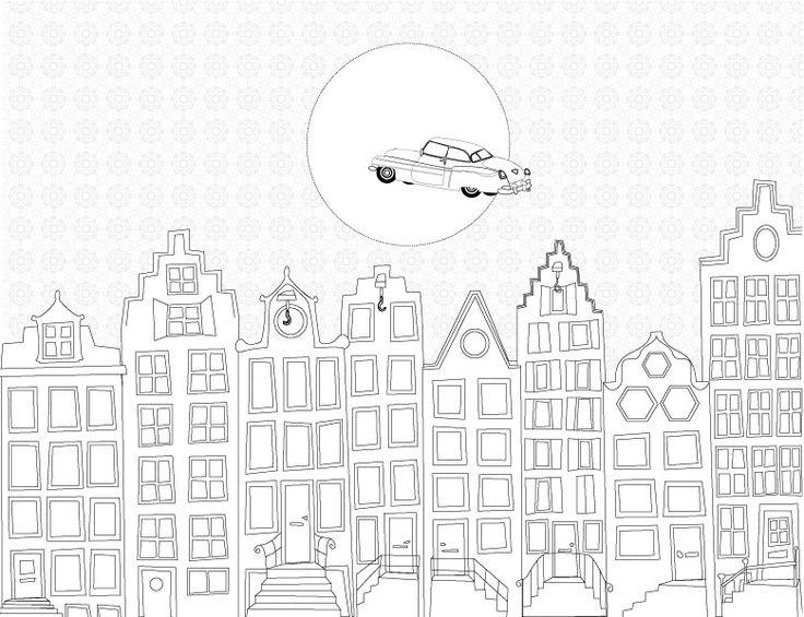 Behang voorbeeld voor de babykamer of kinderkamer De vliegende cadillac (zwart-wit)