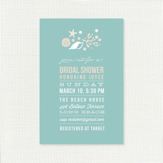 Beach Bridal Shower Invitation - Printable Invites - Nautical, Shell, Starfish, Coral - navy, blue for wedding shower