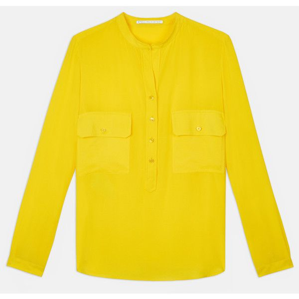 Stella Mccartney Estella Yellow Blouse (2,040 PEN) ❤ liked on Polyvore featuring tops, blouses, yellow, stella mccartney top, lemon yellow blouse, long sleeve tops, yellow top and yellow blouse