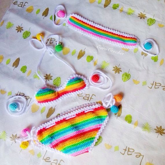 Rainbow beach setCrochet baby bikini and por EarnCrochet en Etsy