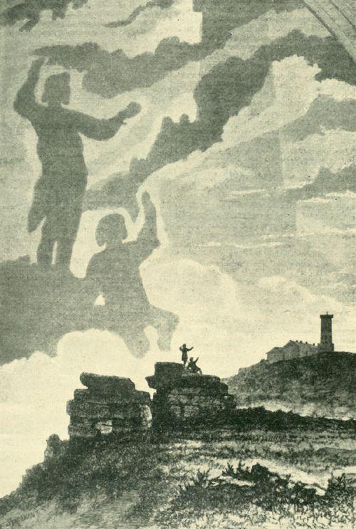 Das Brockengespenst. Holzschnitt nach einer Zeichnung von F. Strobant. Aus: Le tour de monde, Paris 1865. Hier nach Dennert: Geschichte des Brockens und der Brockenreisen, Abb. 18. [Pinned 22-xii-2014]