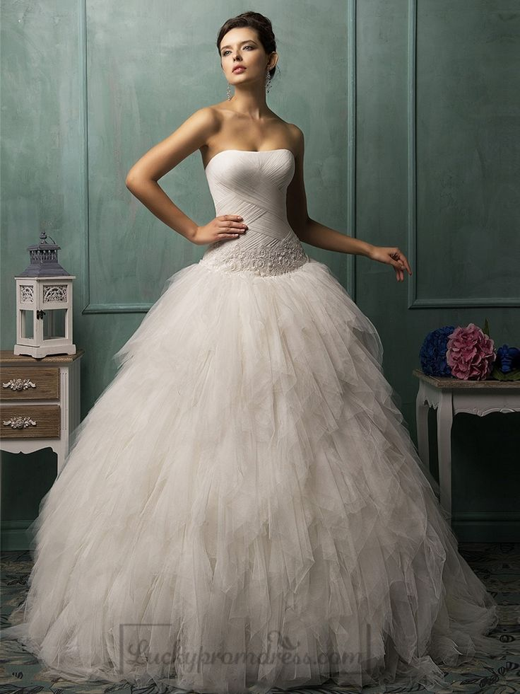 Strapless Criss-cross Bodice Ruffled Ball Gown Wedding Dress