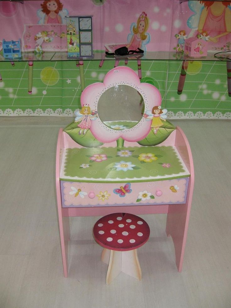 hand painted wood chairs | Kids Furniture Wooden Hand Painted Kid Dressing Mirror Table - Buy ...