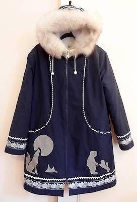 Hudson's Bay Canada Parka Vtg Double Layer Eskimo Fox Fur Hood Jacket Coat_M
