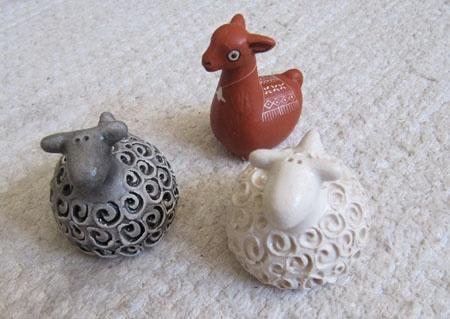 My little clay sheep and an alpaca. I collect Savi-Jonttu's sheep.