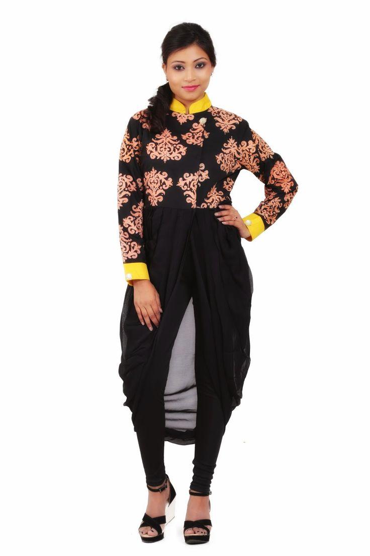 Ethnic Wear For Women And Men Jacket Style Kurtis At Nikksfashion | Dhoti Style Drape | Pinterest