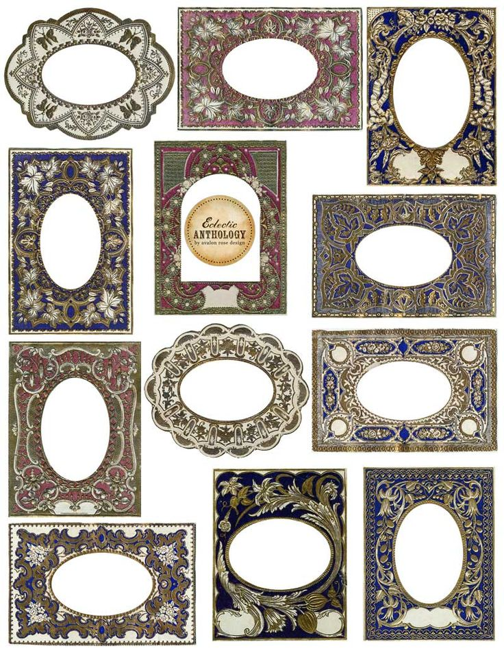 Free Printable Gilded Embellished Frames Collage Sheet