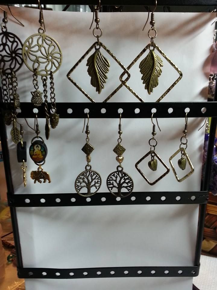 Variety antique bronze earrings.