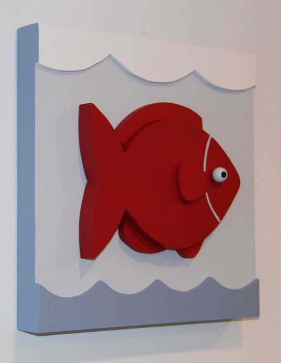 Fish Nautical Kids Room Decor and Nursery Wood Wall by EleosStudio