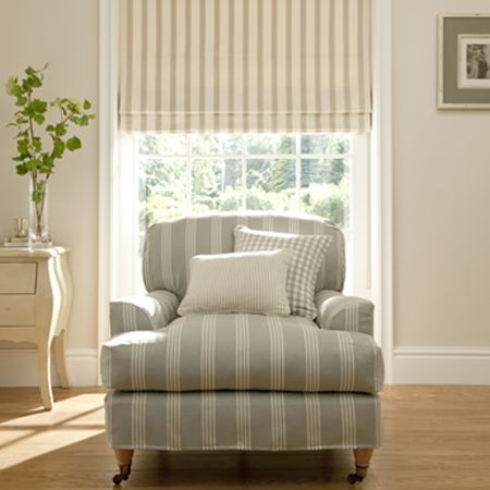 Clarke and Clarke - Ticking Stripes Fabric Collection - Chair with striped upholstery and grey tartan cushions and striped roman blind