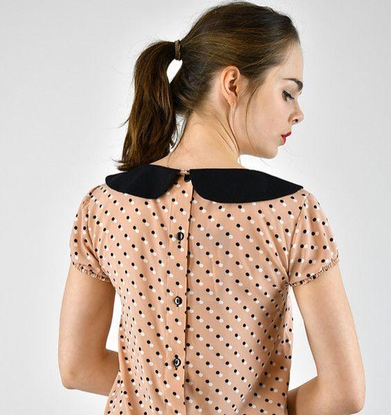 Kurzarmblusen - Kurzärmlige Bluse mit Bubikragen und Knopfleiste - ein Designerstück von Cyroline bei DaWanda