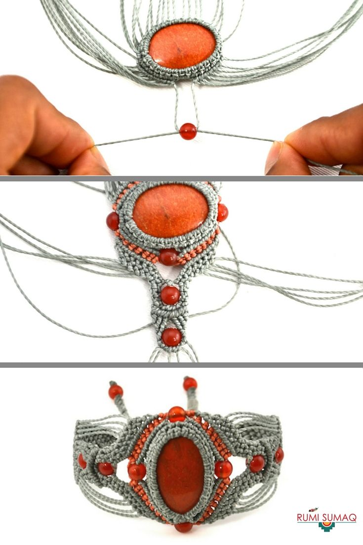 Macrame bracelet tutorial with stones