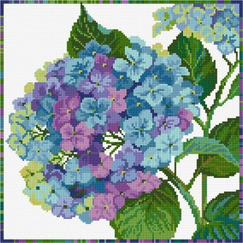 LJT149 Blue Hydrangea | Lesley Teare Needlework and Cross Stitch Chart Designs