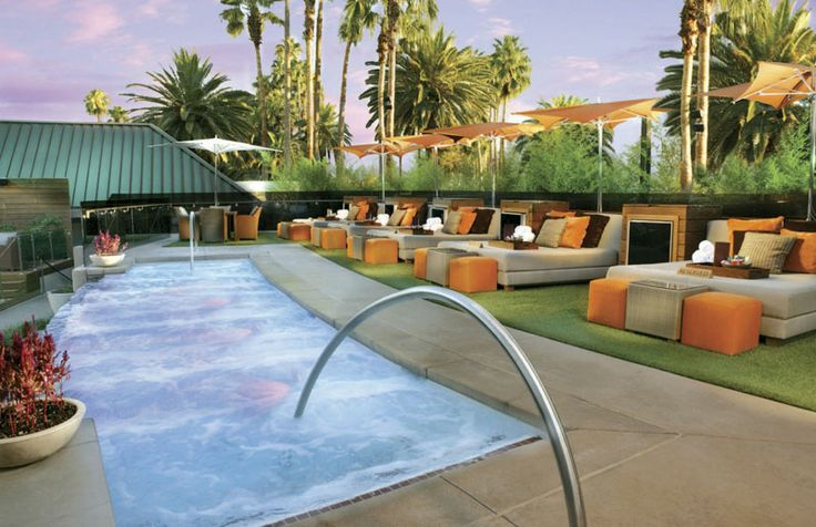 Located next to the dolphin habitat, Bare Pool Lounge is Mirage's adult-only pool and a favored celebrity hangout, featuring topless sunbathing during the week (Monday through Friday), two dipping pools, and live deejays (a state-of-the-art glass cover transforms the pool into a dance floor).