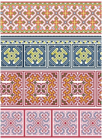 Hmong Inspired Borders Cross Stitch Pattern www.blackphoebedesigns.com