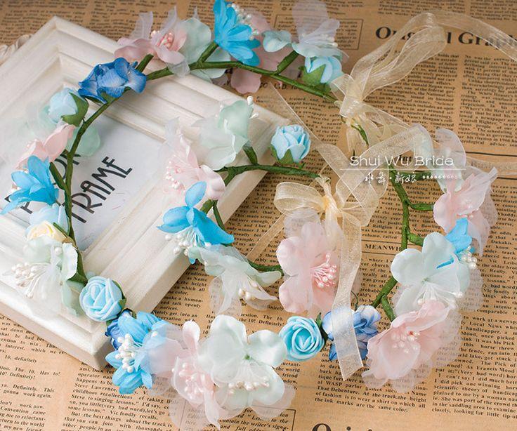 The wreath + bracelet The bride bridesmaid headdress flowers blue  tiara's female photograph fashion $15.00