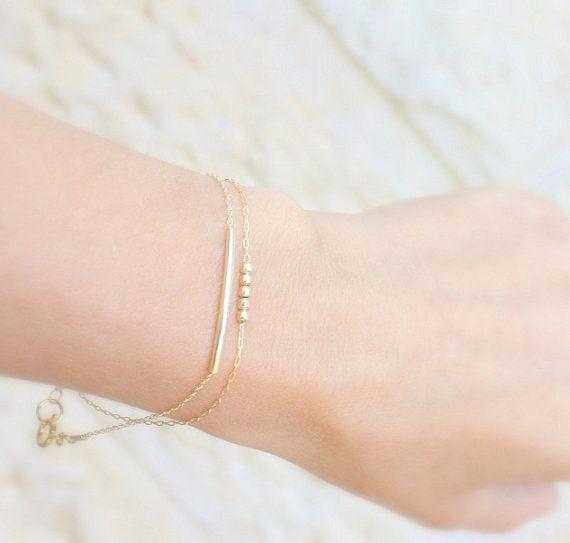Simple gold bracelets Set of 2 gold bracelets by JulJewelry