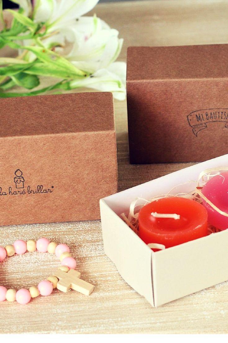 cajas kraft tipo caja de fosforo, conteniendo dos velitas mini perfumada y estampa #velas #bautismo #comunion #souvenir #caja #kraft