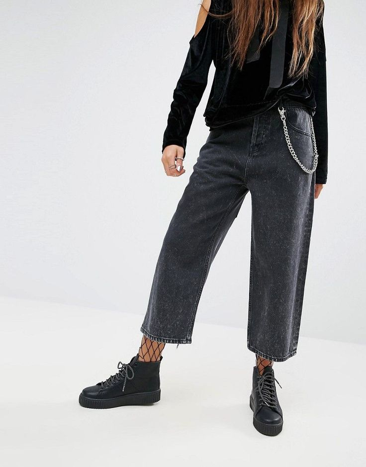 ASOS Cropped Skater Jeans in Extreme Black Acid Wash with Pocket Chain