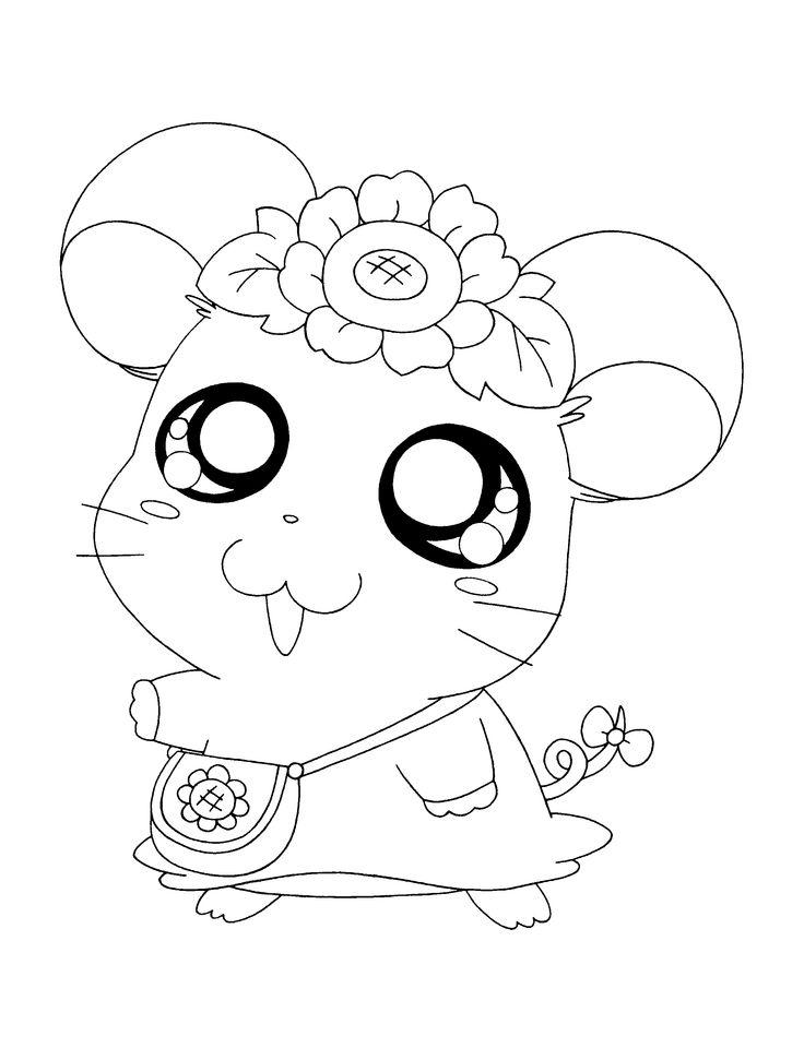 Hamster Coloring Pages For Kids Printable - Hamster Hamtaro anime ...