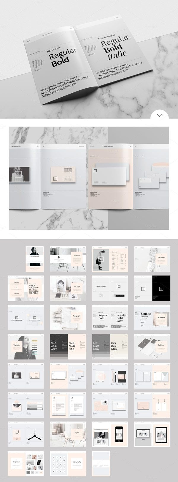 A great studio branding guidelines template in a modern and minimalist brochure design. Whether for clients or for the own design studio, creating a unique brand identity is very time consuming! The d