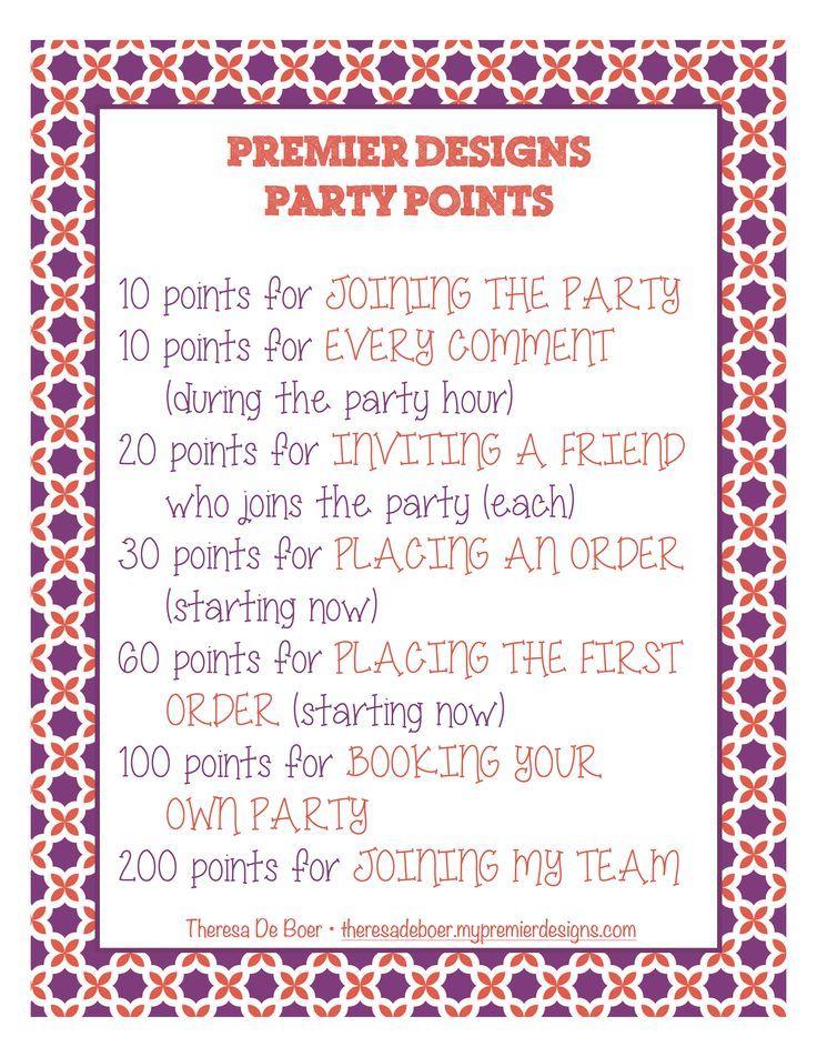 Hosting A Facebook Premier Designs Party Here Is A Party Points Outline Premier Designs