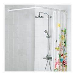 IKEA - VIKARN, Tringle à rideau de douche, La tringle de rideau de douche peut être installée en U, en L avec deux longueurs inégales ou en angle avec deux longueurs égales.